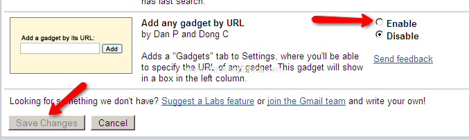 Add any gadgets by URL Facebook, Twitter, Friendfeed and Google Buzz Use/Integrate All In Gmail