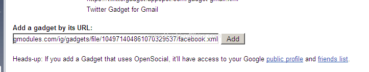 Facebook gadget URL Facebook, Twitter, Friendfeed and Google Buzz Use/Integrate All In Gmail