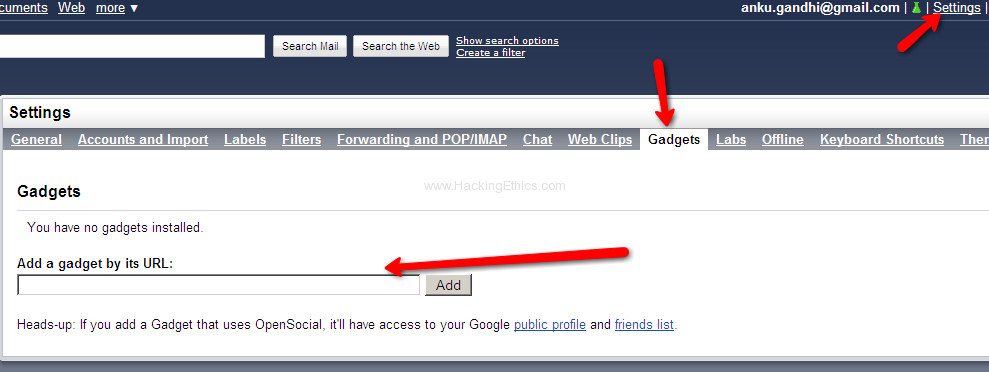 Gadgets in settings Facebook, Twitter, Friendfeed and Google Buzz Use/Integrate All In Gmail