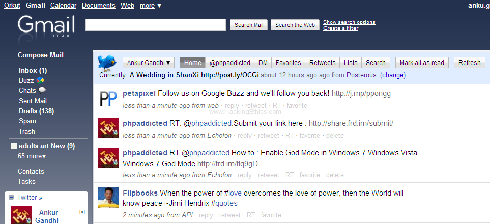 twitter expanded in gmail Facebook, Twitter, Friendfeed and Google Buzz Use/Integrate All In Gmail