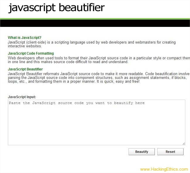 JS Beautifier 3 Online Tools To Make Your Javascript Code Beautiful   JS Beautifier