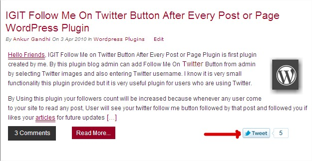 PrtScr capture 2 IGIT New Twitter Tweet Share Button With Counter WordPress Plugin
