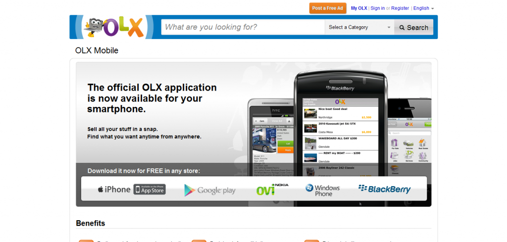 mobile 1024x489 Best Free Online Classified Website In India   Olx.in