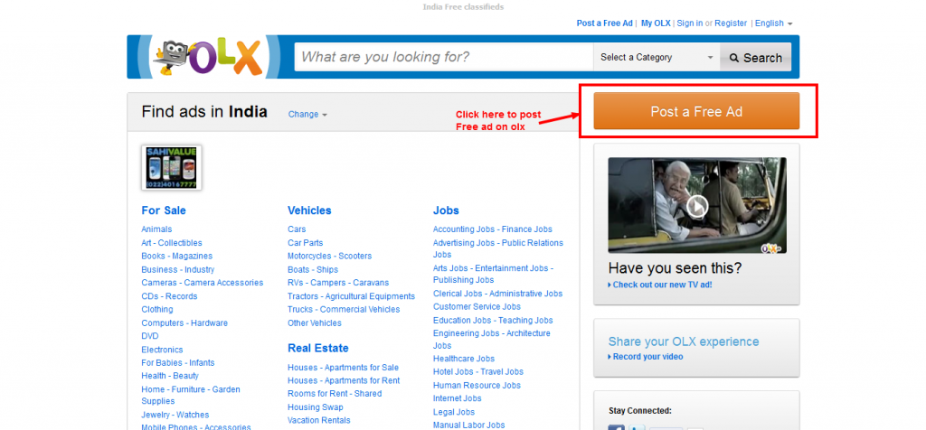 post free button 1024x476 Best Free Online Classified Website In India   Olx.in